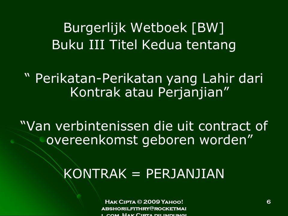 Burgerlijk Wetboek [BW] Buku III Titel Kedua tentang